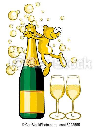 Bouteille De Champagne Dessin dessin bouteille de champagne - lama gourmand