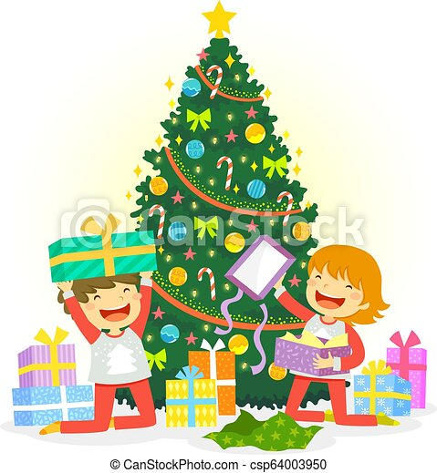 Christmas Presents Clipart.Opening Christmas Presents