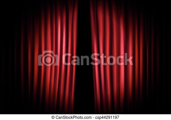 Opening Stage Curtains With Shining Microphone Vector Illustration Standup Show Template