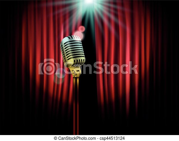 Captivating Opening Stage Curtains With Shining Microphone. Vector Illustration.  Standup Show Template