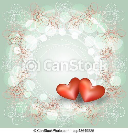 Openwork frame with two hearts. card for valentine\'s day.