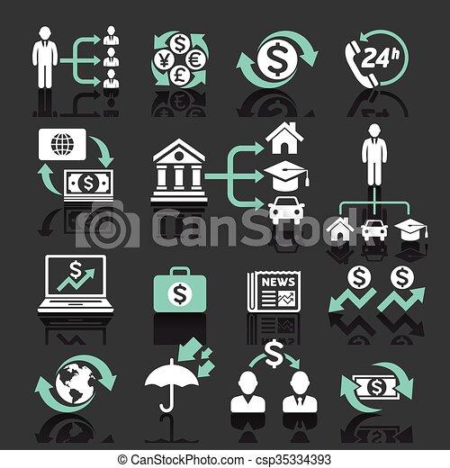 operação bancária, ícones negócio - csp35334393