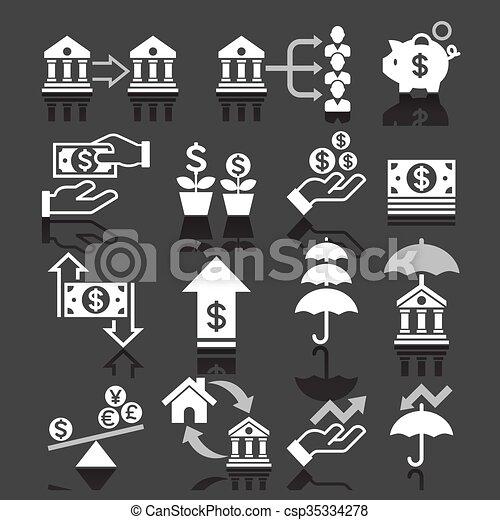 operação bancária, ícones negócio - csp35334278