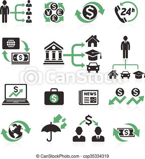 operação bancária, set., conceito, ícones negócio - csp35334319