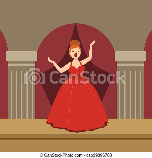 opera singer in red dress performing on stage simplified graphic rh canstockphoto com opera singer clipart free Opera Singer Cartoon