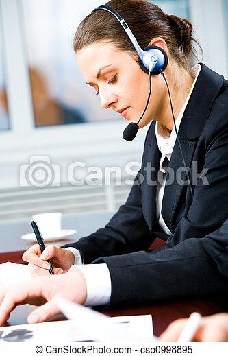 operador, ocupado, telefone - csp0998895