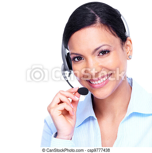 operatör, woman., option att köpa centrera, affär - csp9777438