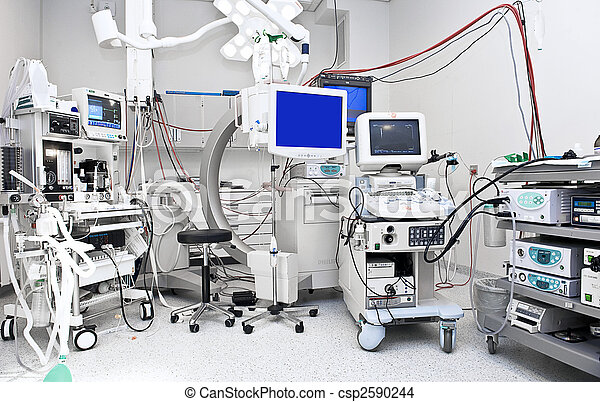 Operating Room With Alot Of Medical Equipment Stock Photo