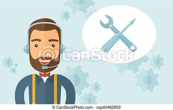 Operator man in headset. - csp40462859