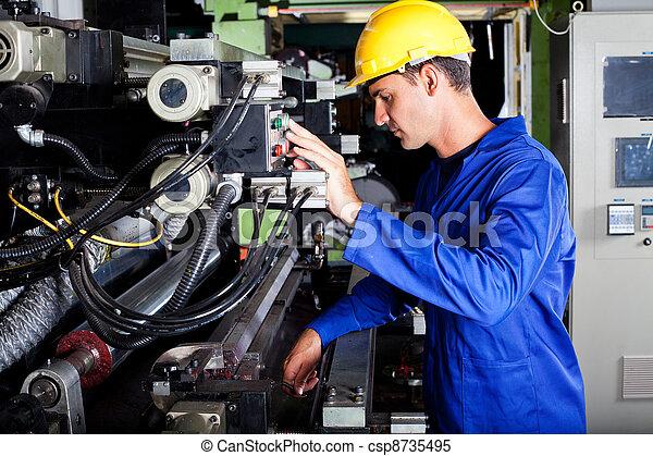 operator operating industrial printing press - csp8735495