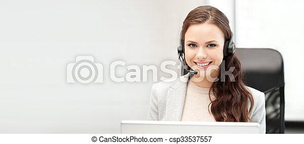 operatore, laptop, helpline, computer - csp33537557