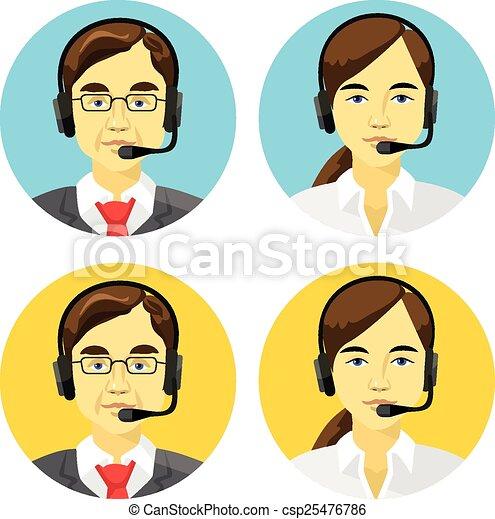operatoren, anruf- mitte, avatars - csp25476786
