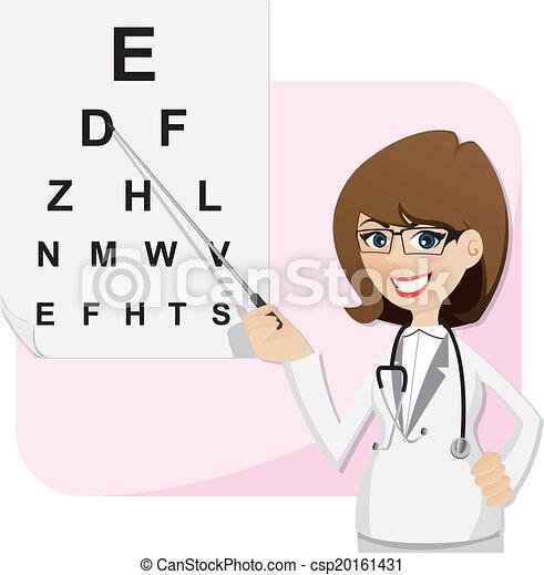 ophtalmologiste, vue, essai, diagramme, girl, dessin animé - csp20161431