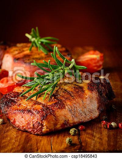 opieczony, stek, closeup, szczegół - csp18495843