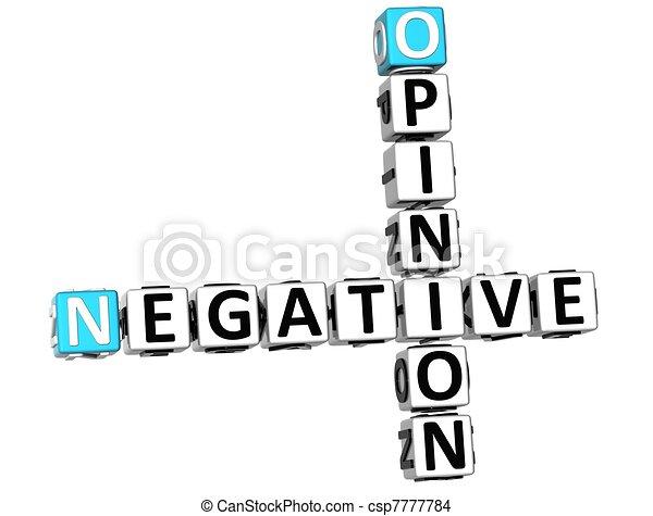 opinion, 3d, négatif, mots croisés - csp7777784