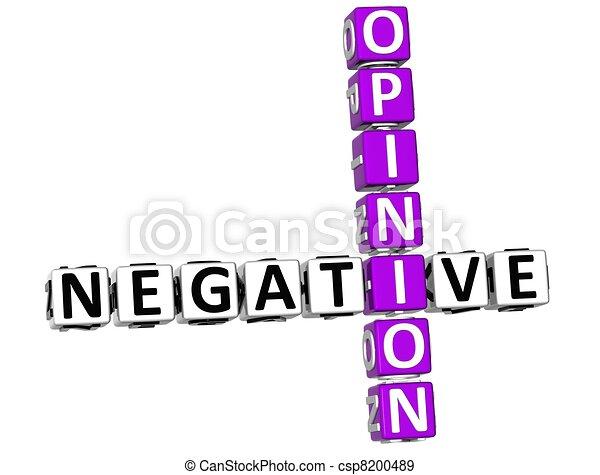 opinion, 3d, négatif, mots croisés - csp8200489