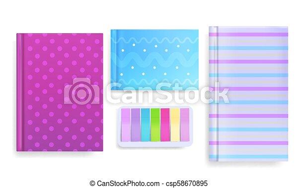 opmerkingen, illustratie, vector, dagboek, deksels, boodschap - csp58670895