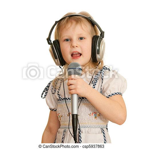 opname, het zingen, meisje, studio - csp5937863