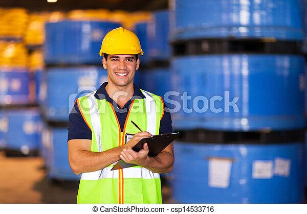 opname, magazijn, arbeider, jonge, liggen - csp14533716
