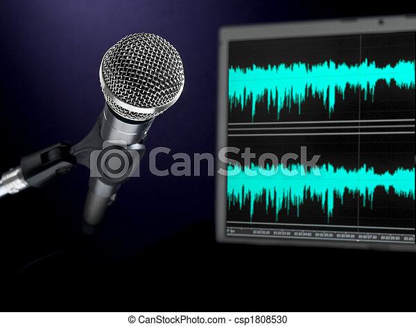 opname, microfoon, studio. - csp1808530