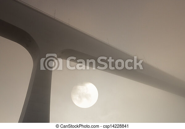 Oporto foggy bridges - csp14228841