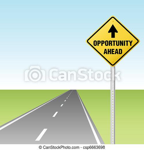 oportunidade, tráfego, rodovia, à frente, sinal - csp6663698