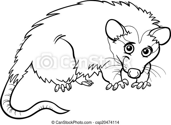 Opossum Animal Cartoon Coloring Book Black And White Cartoon