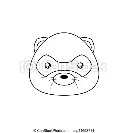 Opossum Drawing Face Abstract Animal Line Drawing Face On A White