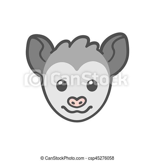 Opossum Karikatur Gesicht Lustiges Reizend Drawing Opossum