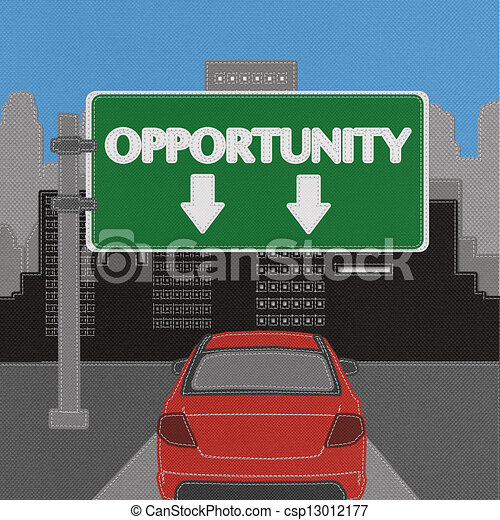 Opportunity highway sign concept with stitch style on fabric background - csp13012177