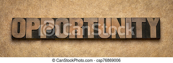 opportunity word abstract in wood type - csp76869006