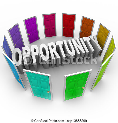 Opportunity Word Doors Open to Big Chance for New Future - csp13885399