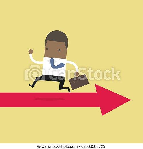 opposé, courant, way., flèche, africaine, homme affaires - csp68583729