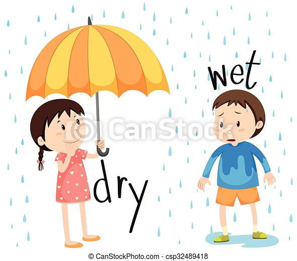 Opposite adjective dry and wet - csp32489418