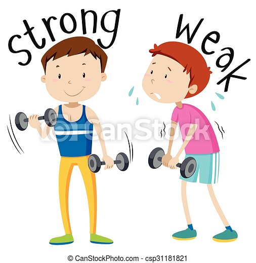 opposite adjective with strong and weak illustration vector rh canstockphoto com strong clipart black and white strong clipart
