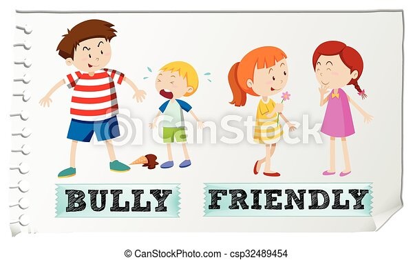 opposite adjectives bully and friendly illustration clipart vector rh canstockphoto co nz friendly shark clipart clipart friendly reminder