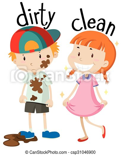 opposite adjectives dirty and clean illustration rh canstockphoto com clean clipart black and white clipart clean up