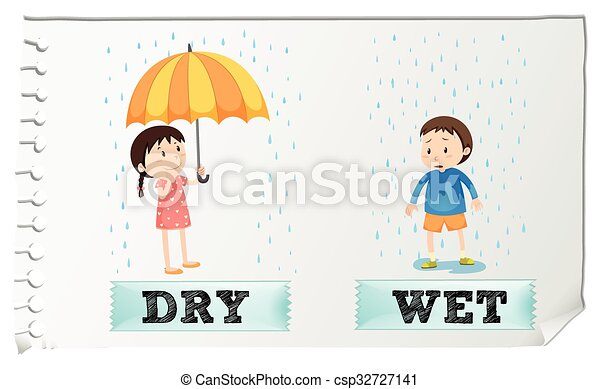 Opposite adjectives dry and wet - csp32727141