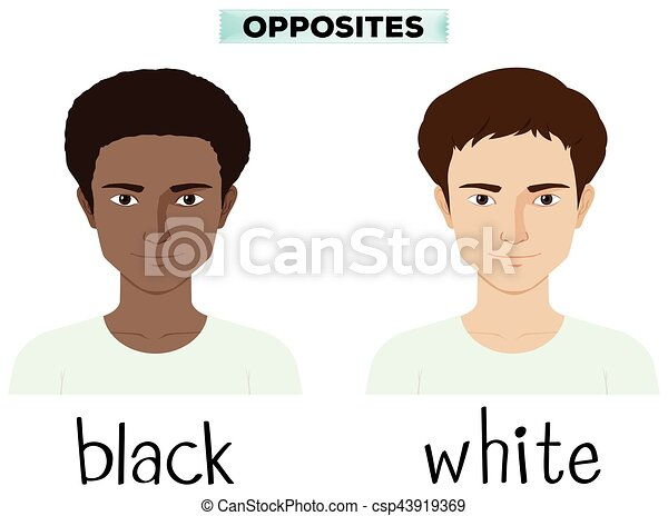 Opposite adjectives for black and white - csp43919369