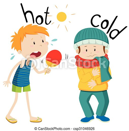 opposite adjectives hot and cold illustration vector illustration rh canstockphoto com hot and cold clipart black and white