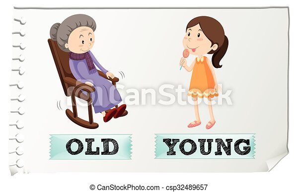 opposite adjectives old and young illustration clipart vector rh canstockphoto ca young kid clipart clipart young woman