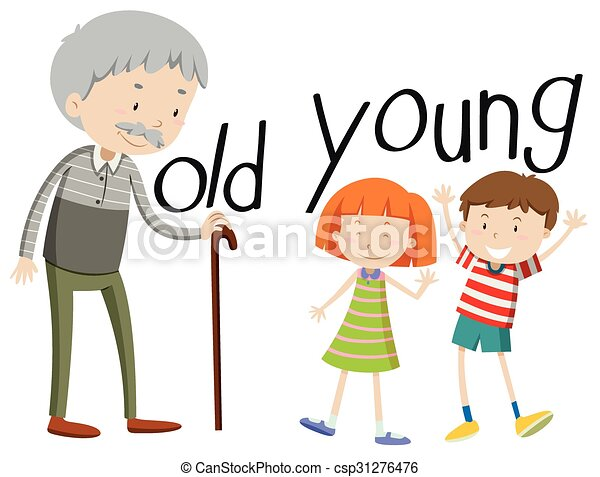 opposite adjectives old and young illustration vectors illustration rh canstockphoto com young clipart clipart young man
