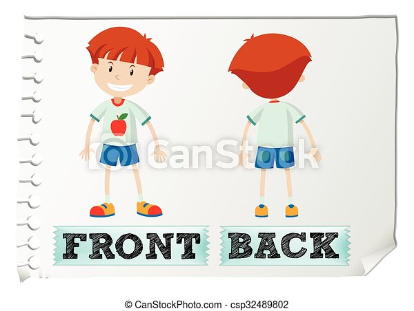 opposite adjectives with front and back illustration
