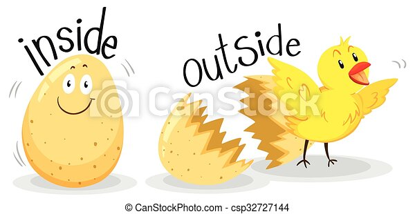 Opposite adjectives with inside and outside - csp32727144