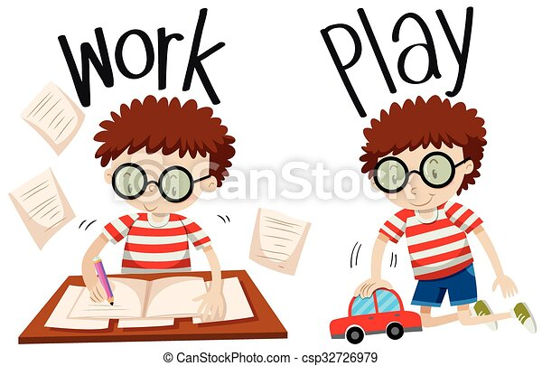 Opposite adjectives work and play - csp32726979
