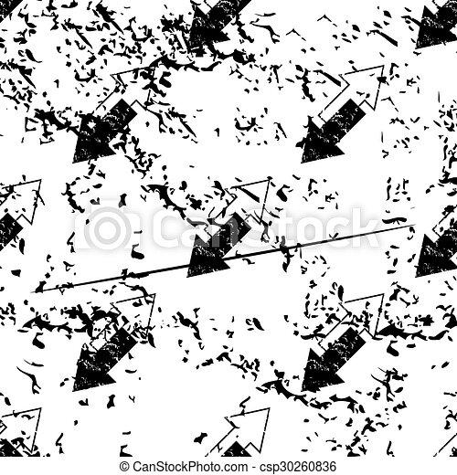 Opposite arrows pattern, grunge, monochrome - csp30260836