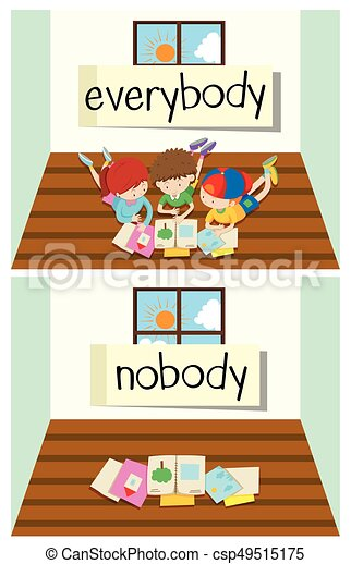 Opposite word for everybody and nobody - csp49515175