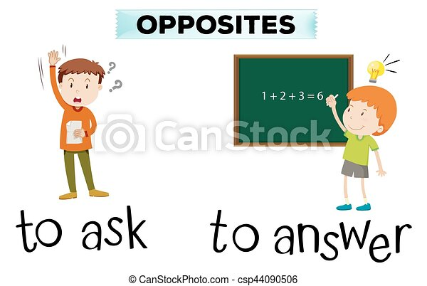 Opposite wordcard for ask and answer - csp44090506
