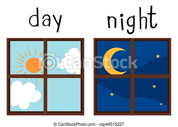 Opposite wordcard for day and night - csp49515227