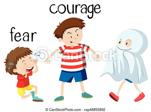 Opposite wordcard for fear and courage - csp48855892